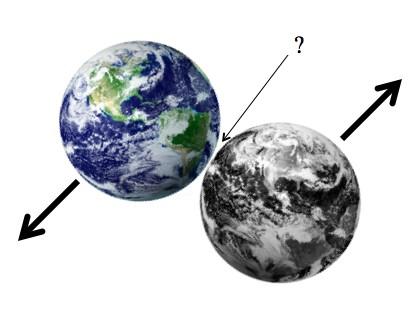 """Num impacto lateral de """"raspão"""", qual seria a gravidade entre os dois planetas?"""