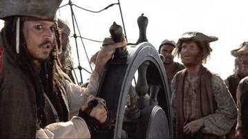 Um cowboy claramente é visto no Pérola Negra, de Jack Sparrow.