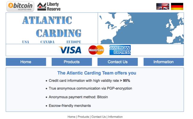 Atlantic Carding é um site na Deep Web para venda de cartões de créditos roubados e/ou clonados.