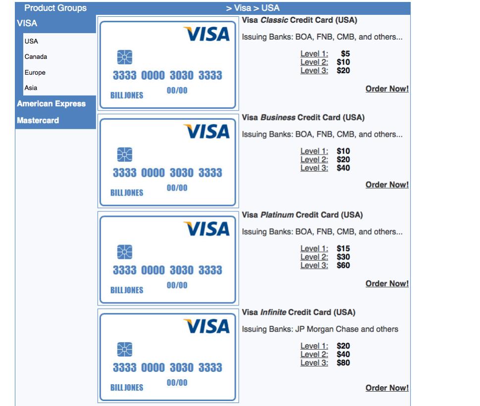 O site oferece diferentes preços e formas de pagamentos para diferentes bandeiras e limites de saldo.