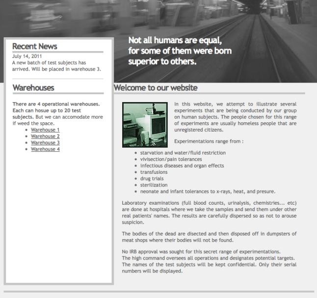 Descrição do site Human Experiment.