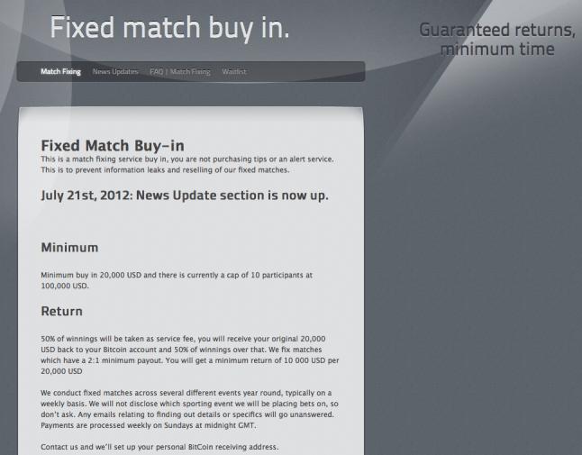 Neste site, a aposta mínima é de 20 mil dólares.