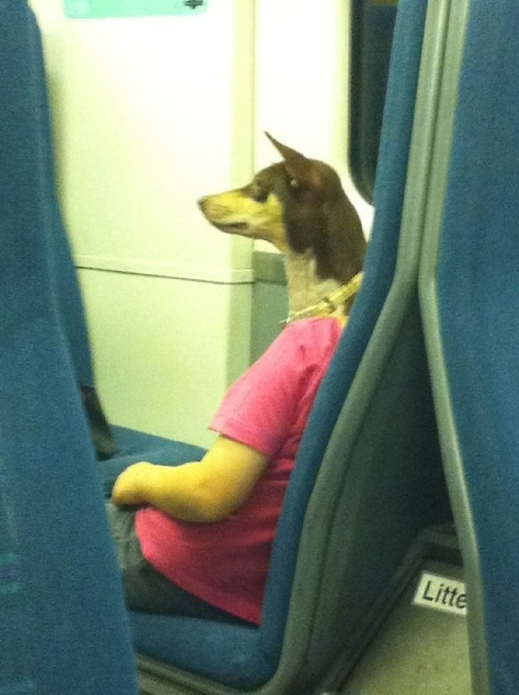 mulher cabeça de cachorro