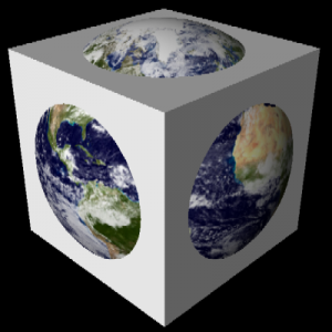 O planeta em cubo envolvendo uma esfera de oceanos.