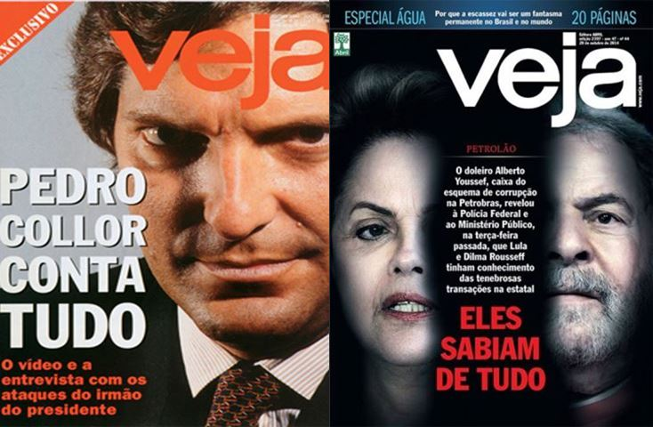 Veículos de imprensa divulgaram denúncias aos presidentes (Fotos: Reprodução / Revista Veja)