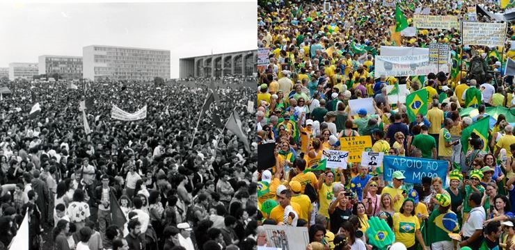 Manifestações que pediam o impeachment de Fernando Collor (esq.) e de Dilma Rousseff (dir.) (Fotos: Agência Brasil)