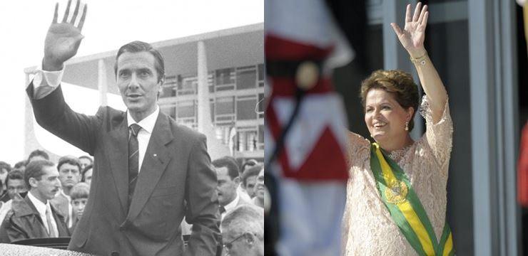 Fernando Collor e Dilma Rousseff, em cerimônias de posse nos anos de 1990 e 2015 (Fotos: Wikimedia e Agência Senado)