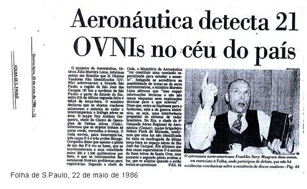 Repercussão do jornal Folha de S. Paulo sobre a 'Noite oficial dos OVNIs'
