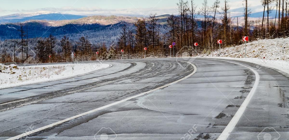 Winter road in Siberia. Russia