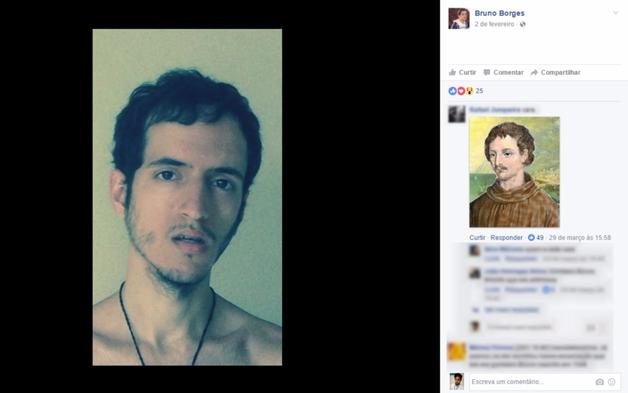 Postagem feita pelo jovem no Facebook recebeu comentário sobre a semelhança física entre o jovem e o filósofo Giordano Bruno