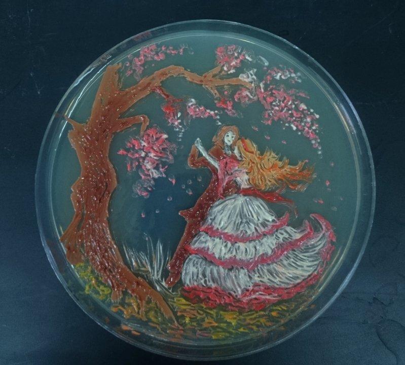 """Dancing Microbes"", por Ana Tsitsishvili, estudante na Agricultural University of Georgia (3º lugar)."