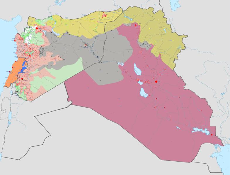 Em cinza, a área controlada pelo Estado Islâmico, que abrange partes da Síria e Iraque