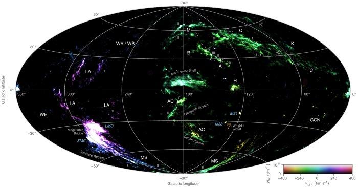 via láctea-mapa das nuvens
