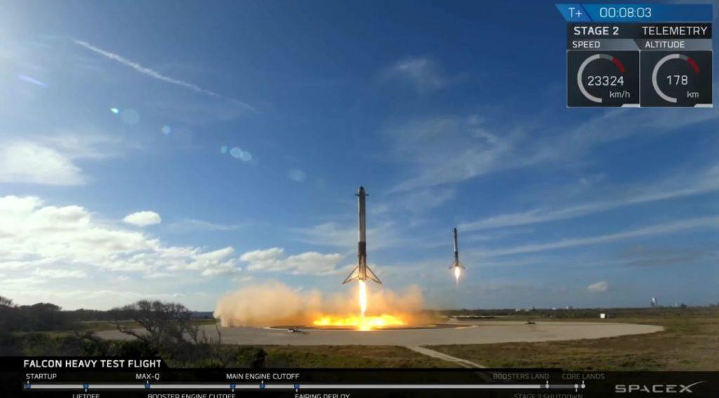 Momento da aterrizagem dos dois propulsores Fonte: SpaceX