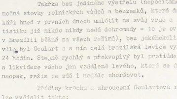Um dos trechos dos documentos tchecoslovacos que citavam o Brasil