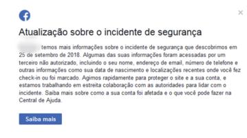 AN facebook atualizacao incidente seguranca