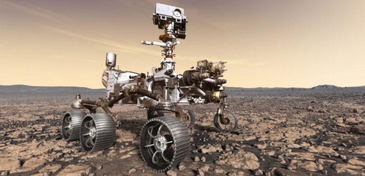 Ilustração da sonda Mars 2020. Fonte: Nasa