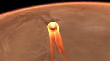 Representação artística da sonda Insight pousando em Marte