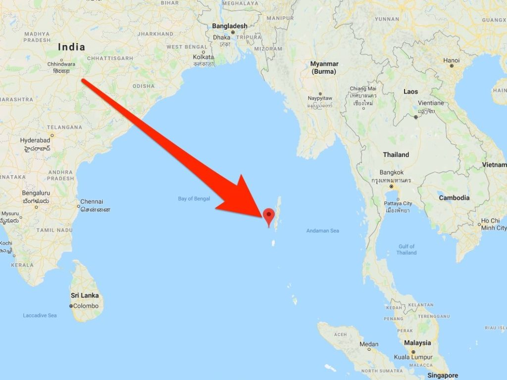 A localização das Ilhas Andamão no Oceano Índico.