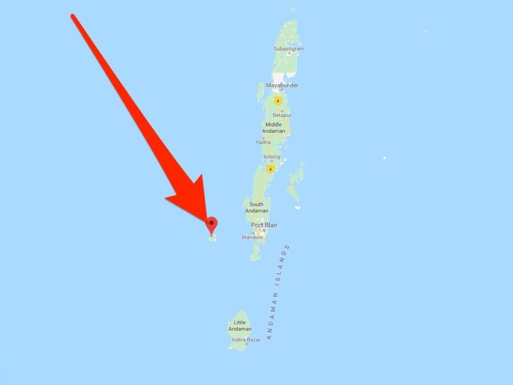 A localização da Ilha Sentinela do Norte, dentro das Ilhas Andamão.