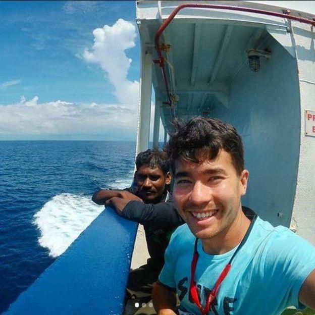Um das últimas fotos de Chau, enquanto estava a caminho da ilha. Fonte: Reprodução/Instagram