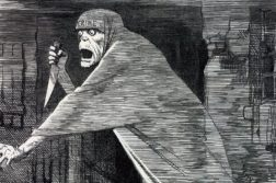 Uma ilustração criada na época dos crimes para representar o assassino.