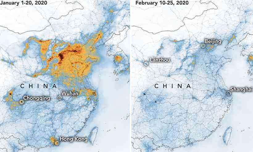 E as quedas nos níveis de poluição em toda a China. Fonte: Earth Observatory/Nasa