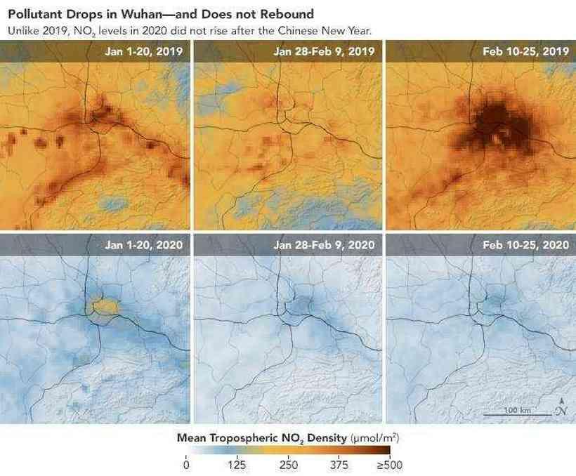 A queda nos níveis de poluição em Wuhan. Fonte: Earth Observatory/Nasa